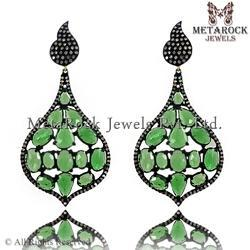 Green Tourmaline Pave Diamond Dangle Earrings