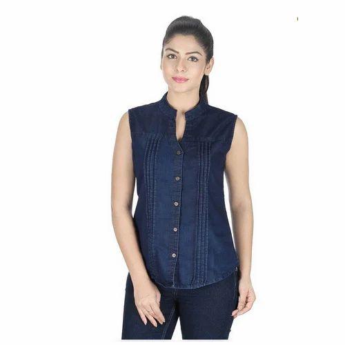 80e9d55044ccd Ladies Stylish Sleeveless Denim Shirt
