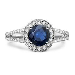 Diamond Studded Blue Diamond Engagement Ring