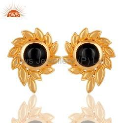 Floral 18k Gold Plated Brass Gemstone Stud Earrings