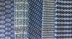 Blue Flower Block Printed Fabric