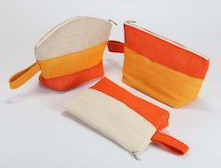 Yellow & Orange Printed Designer Jute Pouches