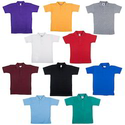 Collar Neck Half Sleeve Cotton School T Shirt, 3-5 Years, Packaging Type: Packet