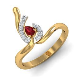 Maroon Stone 14K Gold Diamonds Ring