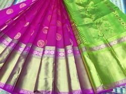 Pink and Green Silk Butta Saree