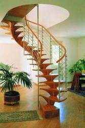 Wooden Staircase With Stainless Steel Railing