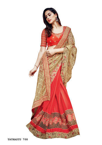 3a91877c31 Net Embroidered Half Designer Sarees, Rs 6248 /piece, Surya Silks ...
