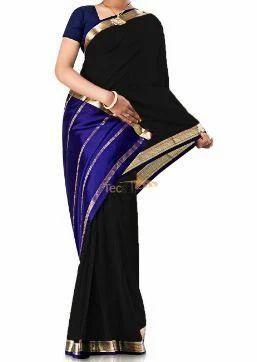 eb5feda57c Contrast Black Pure Crepe Silk Saree, क्रेप रेशम की ...