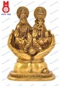 Lord Laxmi & Ganesh Sitting On Hand W/Base Statues