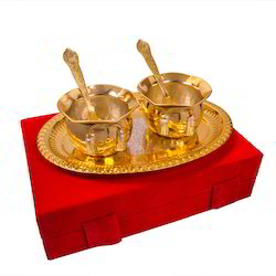 Gold Plated Brass Handi Set Of Two Piece