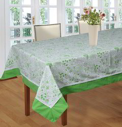 Birds Printed Table Cloth with Attached Lace