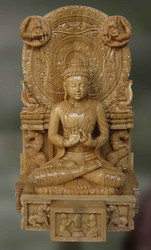 Buddha Carved Wood Sculpture