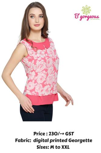 Georgette Printed Collar Top