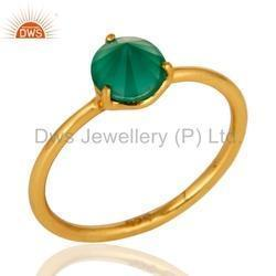 Natural Green Onyx Designer Gold Plated Silver Ring Jewelry