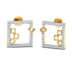 Square Shape Gold Diamond Earring