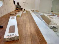 Pergo Multicolor Laminated Wooden Flooring Service