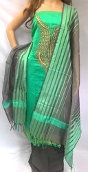 Unstitched As Shown In The Image Designer Chanderi Embroidered Suit