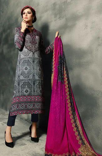 b898ee5a47 Black and Pink Designer Cotton Satin Salwar Suit - Tacfab Fashions ...