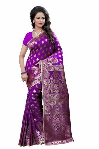 f84ab7683c Cotton Embroidered Designer Banarasi Purple Saree, With Blouse Piece ...