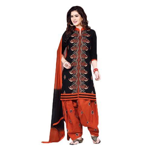 123af8f78e Orange and Black Patiala Suit at Rs 900 /piece | Patiala Salwar ...