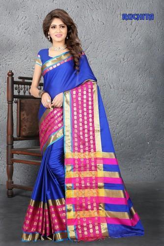 fa0791f86ba53 Blue Plain Aura Silk Cotton Saree