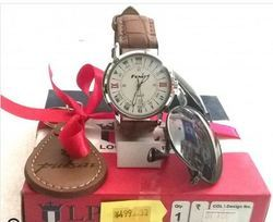 Combo For Men Analog Watch Leather Keychain Sunglass Wallet