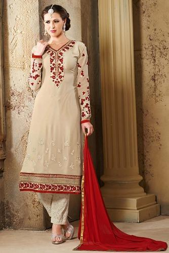 5e6b317441 MANMAUJ Branded Designer Cream Embroidery Georgette With Fre at Rs ...