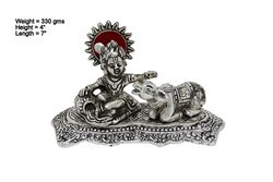 White Metal Cow Krishna