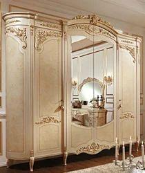 Golden Beige Wooden Wardrobe
