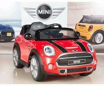 Red Blue Mini Cooper Kids Ride Car