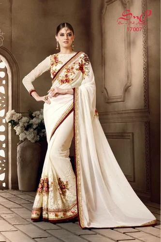 b201514a23 Classic Off White Designer Saree, Drape Saree - Vishal Fashion ...