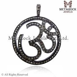 925 Sterling Silver Pave Diamond Om Charms Pendant Jewelry, 9.9