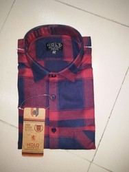 Cotton Brushing Checks Shirts, Size: 38-44.0