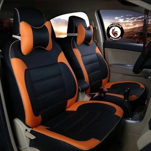 Black And Brown Pegasus Premium Leatherite Car Seat Cover