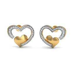 Heart Shape Gold Diamond Earring