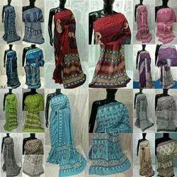 Bagru Dabu Ajrakh Print Cotton Saree