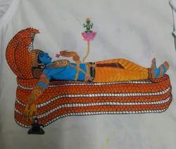 Plain Sree Padmanabhaswamy Mural Hand Painted On Shirt