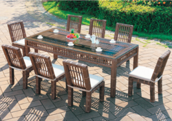 Wooden Style Outdoor Wicker Dining Table Set