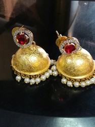 Red Stone With Golden Jhumka Earring