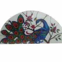 Peacock Printed Glass