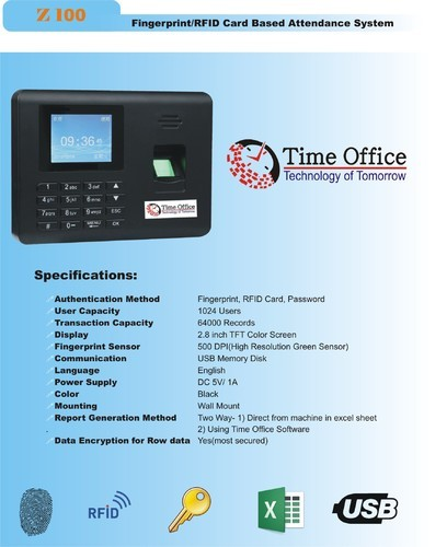 Finger Print Time Office Attendance System, Model Number