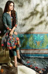 Green and Red Staple Twill Unstitched Salwar Kameez