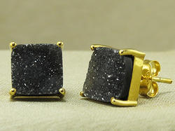 Black Druzy Square Earring Stud