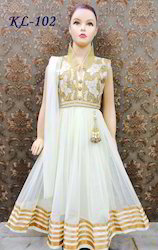 White Embroidered Anarkali