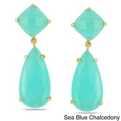 Sterling Silver Sea Blue Chalcedony Prong Set Earrings