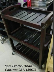 Teak Wood Spa Trolley