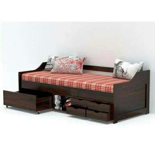 Brown Teak Wood Diwan Bed Storage Box