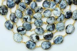 Dendrite Opal Bezel Gemstone Connector Chain
