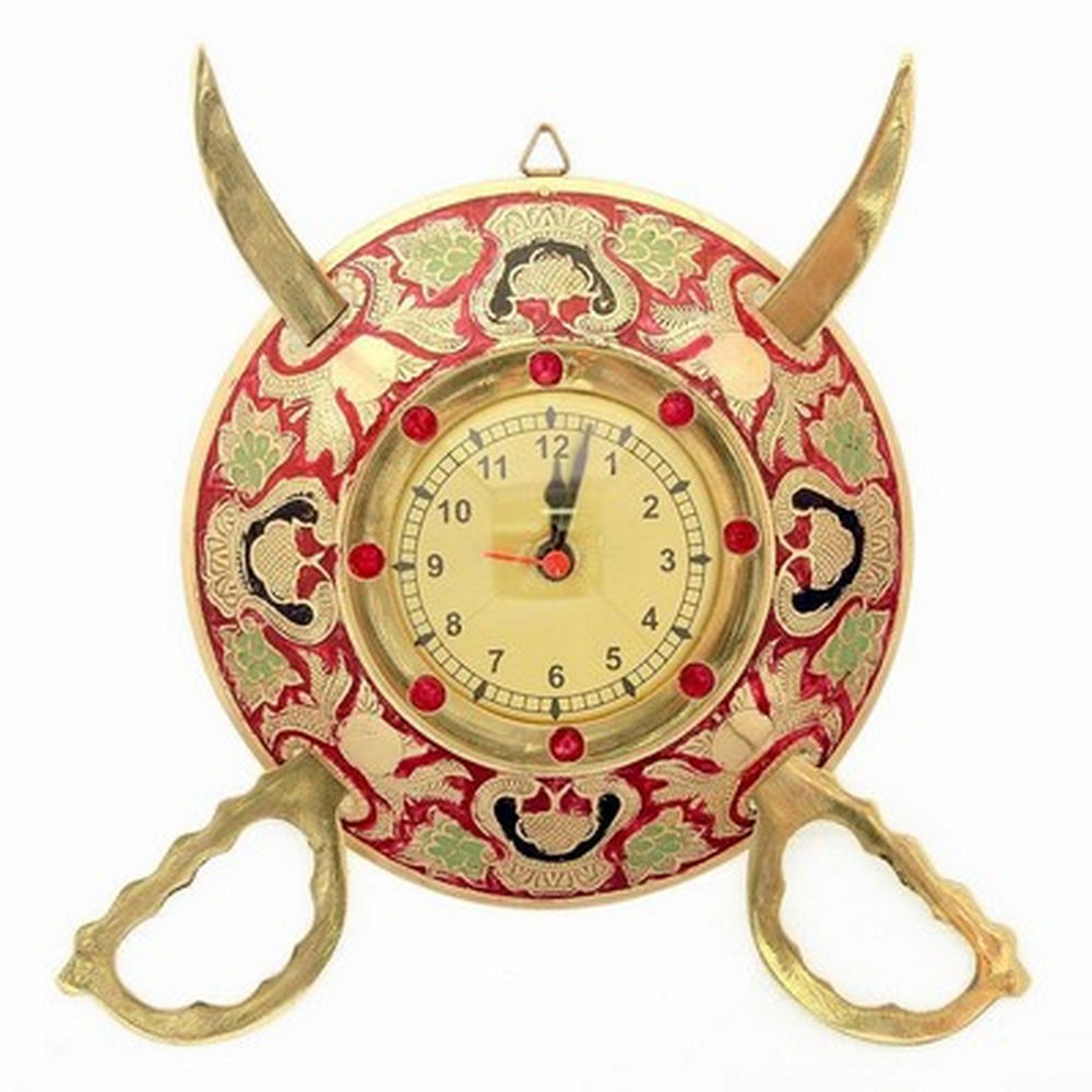 Rajasthani Sword Armour Wall Clock -107