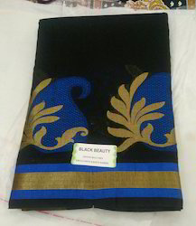 Tant Cotton Black Blue And Black Pink Silk Cotton Saree With Blouse Material, With Blouse Piece